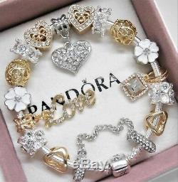 Authentic Pandora Charm Bracelet SILVER & GOLD LOVE HEART European BeadsNIB