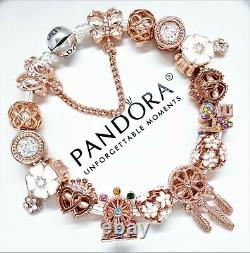 Authentic Pandora Charm Bracelet Silver with ROSE GOLD LOVE HEART European Beads