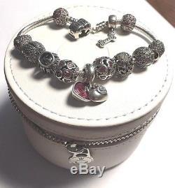 c04606491 Authentic Pandora Sterling Silver Barrel Clasp Bracelet W 12 Charms/clips,  7.9