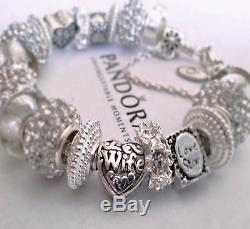 Authentic Pandora Sterling Silver Bracelet A LOVE STORY! With European Charms