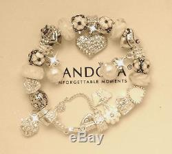 Authentic Pandora Sterling Silver Bracelet Mom White Pearls European Charms New