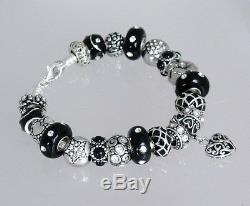 Authentic Pandora Sterling Silver Bracelet with Heart Love Black European Charms
