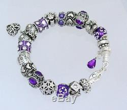 Authentic Pandora Sterling Silver Bracelet with Heart Love New European Charms