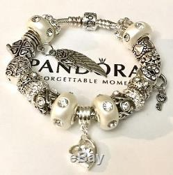 Authentic Pandora Sterling Silver Charm Bracelet With Love White European Charms