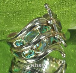 BALLADARES TAXCO Clamper Bracelet STERLING Silver & ABALONE Mid Century MEXICO