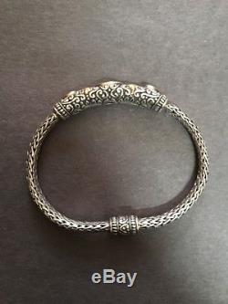 BENHAM BJC SAMUEL B HEAVY Garnet + Citrine STERLING Silver & 18K Gold Bracelet