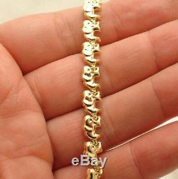 Baby Elephant Bracelet Necklace Set 14K Yellow Gold Clad Silver 925 32.10gr