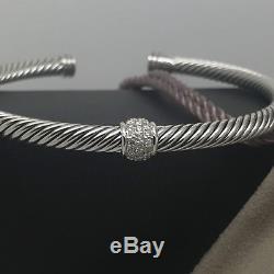 Beautiful David Yurman Sterling Silver Classic Diamond Cable Bracelet Bangle 5mm