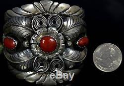 Big Vintage Old Pawn Navajo Squash Blossom Coral Sterling Silver Bracelet
