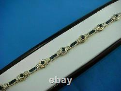 Blue Sapphire & Diamond 15 Ct Princess Cut Tennis Bracelet 14k Yellow Gold Over