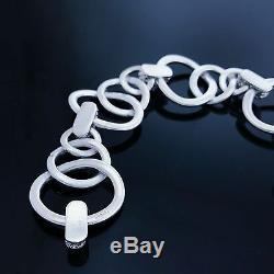 Bold HERMES Sterling Silver 925 Modernist Interlocked Circle Pattern Bracelet