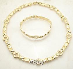 Bold Hugs & Kisses Bracelet Necklace Chain Set 14K Yellow Gold Clad Silver 925