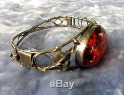 Bold Vintage Sterling Silver And Amber Bracelet