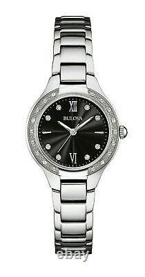 Bulova Women's Quartz Diamond Accent Black Dial Silver-Tone 25mm Watch 96R207