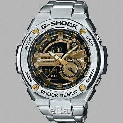 Casio GST-210D-9A G-Shock G-Steel WR World Time Black Silver Men's Watch Ana Dig