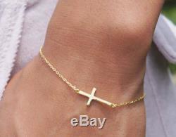 Celebrity Style Sideways Cross Bracelet Sterling Silver or 10k/14k Yellow Gold