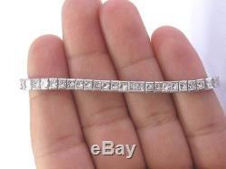 Certified 2.95Ct Princess Cut White Diamond Tennis Bracelet 7 Sterling Silver