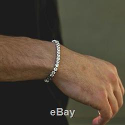 Certified 6.00CT Round Cut Diamond 14k White Gold Over Men's Tennis Bracelet