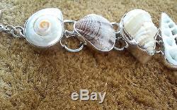 Charles Albert Multi-Shell Bracelet 925 Fine Sterling Silver Adjustable