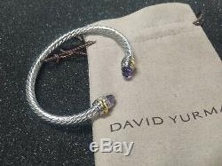 Classic David Yurman 925 Sterling Silver 5mm Cable Cuff Bracelet with Amethyst