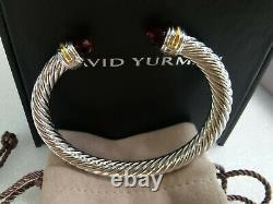 Classic David Yurman 925 Sterling Silver Red Garnet 14k Gold 7mm Bracelet Size M