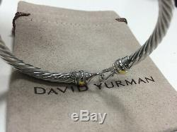 Classic David Yurman Cable Buckle 925 Sterling Silver Bracelet With 18k Gold 5mm