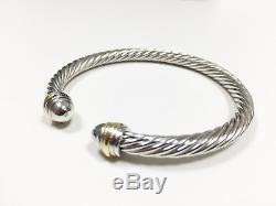 Classic David Yurman Cable Cuff 925 Sterling Silver Bracelet With 18k Gold 5mm