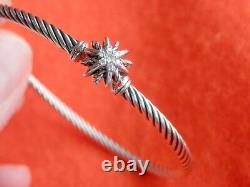 DAVID YURMAN 3mm Sterling Silver Cable Starburst Diamonds Bracelet 6.25