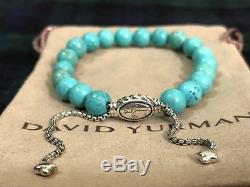 DAVID YURMAN 8mm Spiritual Bead Bracelet Sterling Silver With Turquoise NWOT