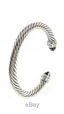 DAVID YURMAN Cable Classic Bracelet with Black Onyx & 14K Gold 7mm $750 NEW