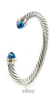 DAVID YURMAN Cable Classic Bracelet with Blue Topaz & 14K Gold 7mm $825 NEW