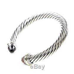DAVID YURMAN Cable Classic Bracelet with Garnet & 14K Gold 7mm $825 NEW