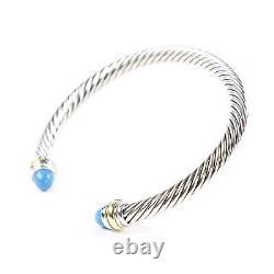 DAVID YURMAN Cable Classics Bracelet Cabochon Turquoise & 14K Gold 5mm $650 NEW