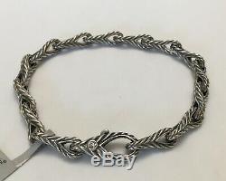 DAVID YURMAN Men's New 925 Silver 7mm Chevron Figure 8 Link Bracelet $695 Size M
