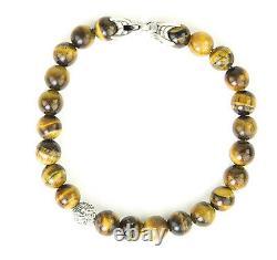 DAVID YURMAN Men's Tiger's Eye Spiritual Accent Bead Bracelet $595 NEW