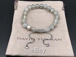 DAVID YURMAN Spiritual Bead Bracelet Sterling Silver with Moonstone 8mm NWOT