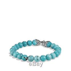 DAVID YURMAN Spiritual Bead Bracelet Sterling Silver with Turquoise 8mm $450