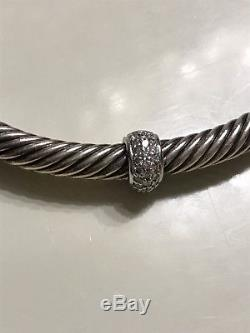 DAVID YURMAN Sterling Silver 18K White Gold Pave Diamond 4mm Cable Bracelet