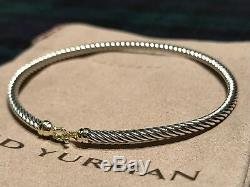 DAVID YURMAN Sterling Silver Cable Buckle Bracelet with 18K Yellow Gold, 3mm $450