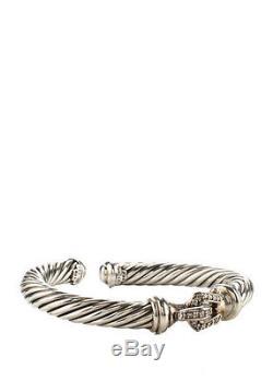 DAVID YURMAN Sterling Silver Diamond Buckle 7mm Cable Hinge Cuff Bracelet
