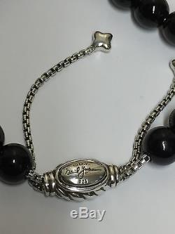 DAVID YURMAN Sterling Silver Spiritual Beads Bracelet Black Onyx 8mm Adjustable