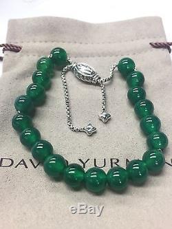 DAVID YURMAN Sterling Silver Spiritual Beads Bracelet Green Onyx 8mm Adjustable