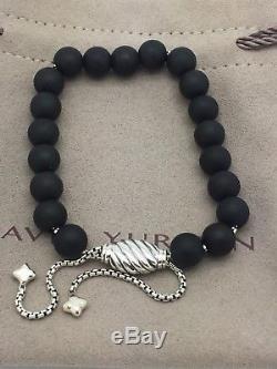 DAVID YURMAN Sterling Silver Spiritual Beads Bracelet Matte Black Onyx 8mm