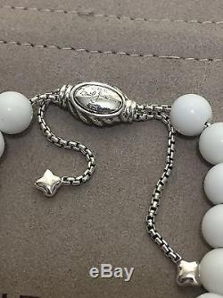 DAVID YURMAN Sterling Silver Spiritual Beads Bracelet White Agate 8mm Adjustable