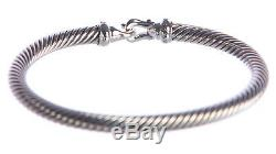 DAVID YURMAN Women's Cable Buckle Bracelet with Diamonds 5mm $550 NEW
