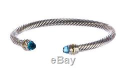 DAVID YURMAN Women's Cable Classics Bracelet Blue Topaz & 14K Gold 5mm $625 NEW