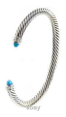 DAVID YURMAN Women's Cable Classics Bracelet with Turquoise 5mm $625 NEW