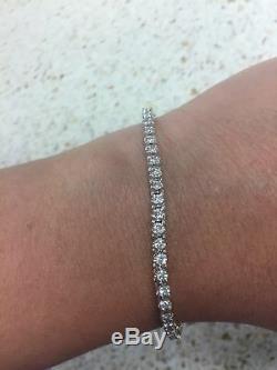 D/VVS1 Diamond Tennis Bracelet 8.00 Ct Round Cut 14K White Gold Finish in 7Inch