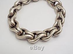 David Heston Designs Sterling Silver Heavy Link Toggle Clasp Men's Bracelet, 9