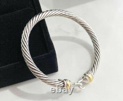 David Yurman 14K Gold Sterling Silver Cable Buckle Bracelet